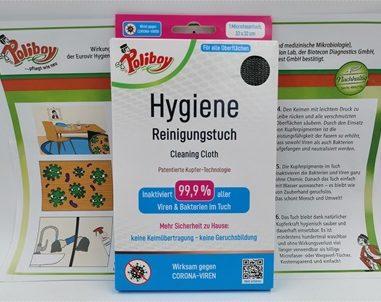 Coronaviren entfernen mit dem Poliboy Hygiene Reinigungstuch mit patentierter Kupfer-Technologie